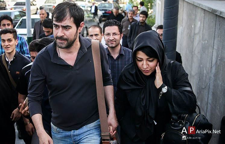شهاب حسینی و همسرش در ختم همسر شهید بابایی