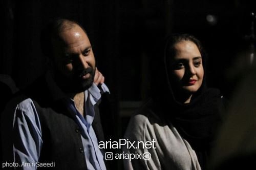 علی اوجی و همسرش نرگس محمدی در تئاتر