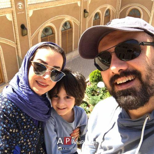 برزو ارجمند و همسرش و پسرشان در سال 96 / عکس جدید