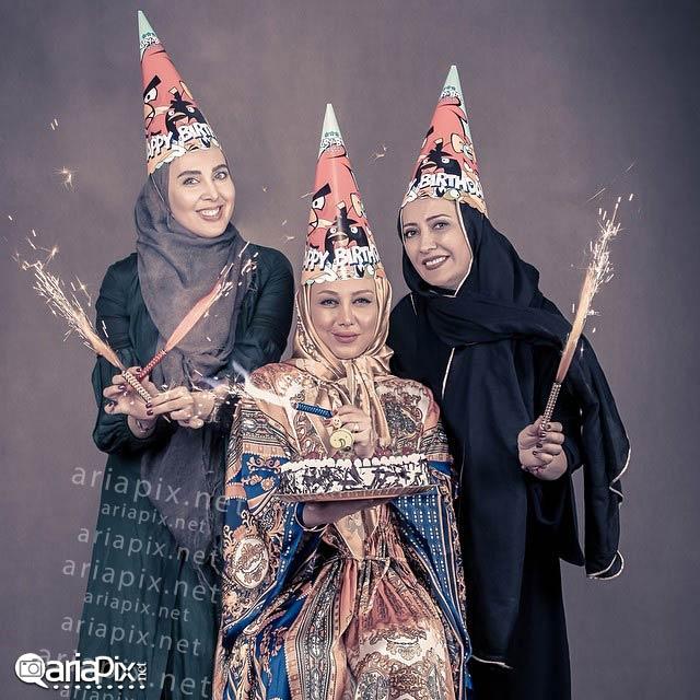 جشن تولد بهنوش بختیاری بازیگر زن در کناز لیلا بلوکات و شیرین بینا