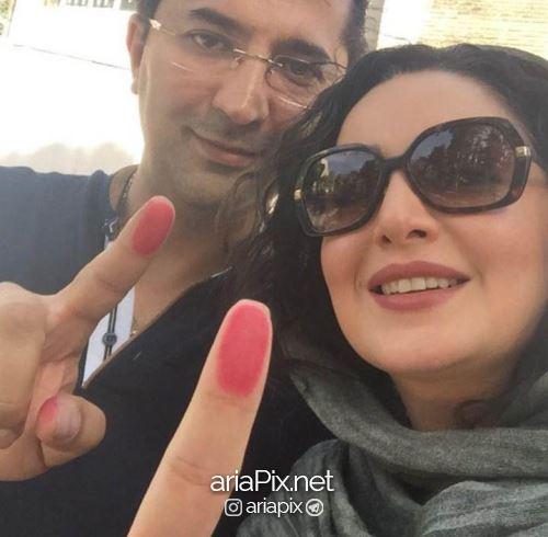 شیلا خداداد و همسرش در حال رای دادن در انتخابات ریاست جمهوری