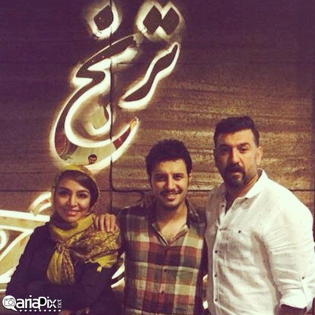 جواد عزتی و همسرش و علی انصاریان در افتتاحیه رستوران جواد عزتی