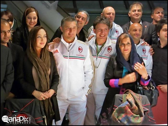 نیکی کریمی,فاطمه معتمد آریا و مازیار فلاحی در کنار بازیکنان آث میلان / عکس
