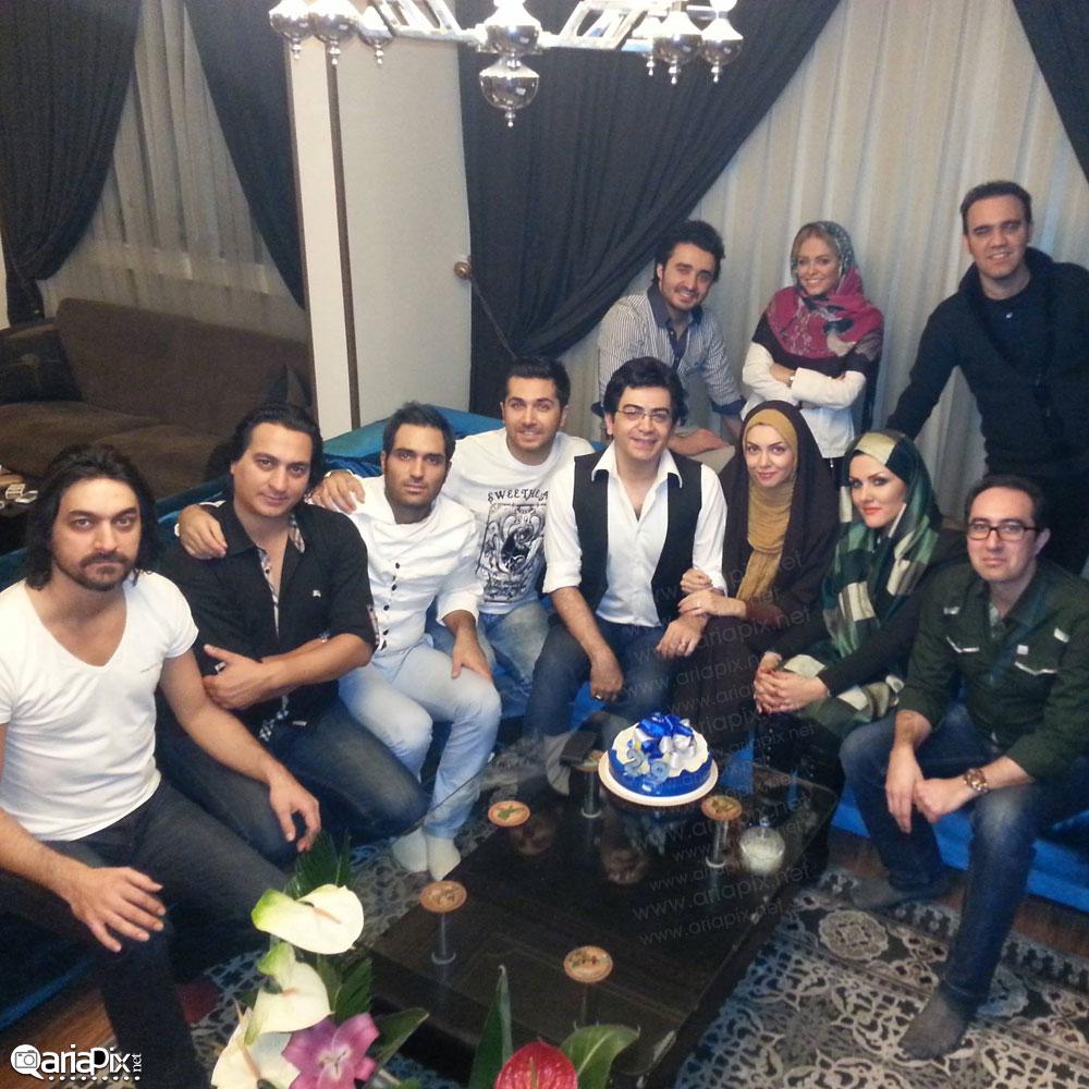 عکس جشن تولد آزاده نامداری در کنار همسرش فرزاد حسنی و علی مرادی مجری و میلاد ترابی و ... 92