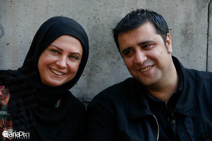 سعید نعمت الله (نویسنده سریال مادرانه ) و لعیا زنگنه بازیگر سریال مادرانه  پشت صحنه سریال مادرانه